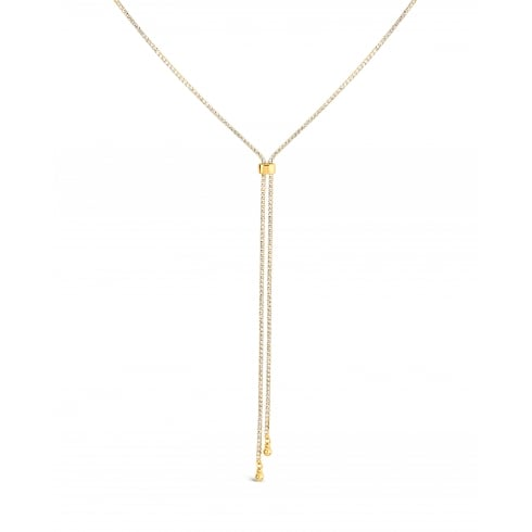 "48"" Long Chain. Gold Plated Lariat Slide Chain Necklace Set with Crystals."