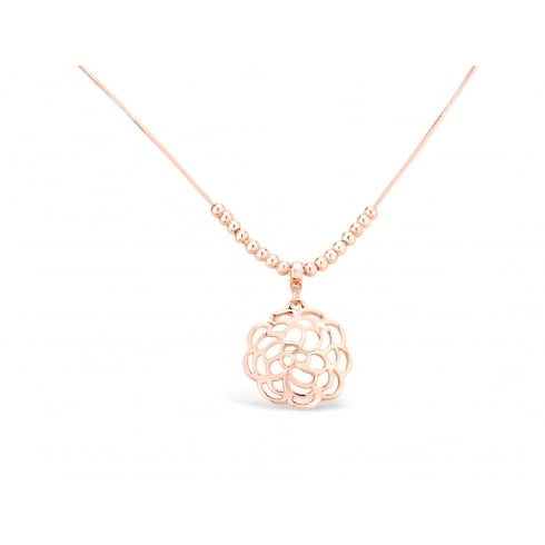 **Rose Gold Plated Necklace With Flower Pendant & Snake Chain.