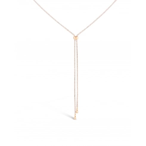 "48"" Long Chain. Rose Gold Plated Lariat Slide Chain Necklace Set with Crystals."
