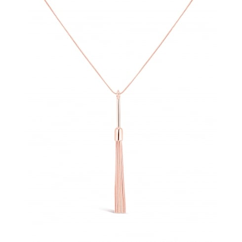 "**32"" Long Necklace Rose Gold Plated with Bar and Tassle Pendant. Pouch."