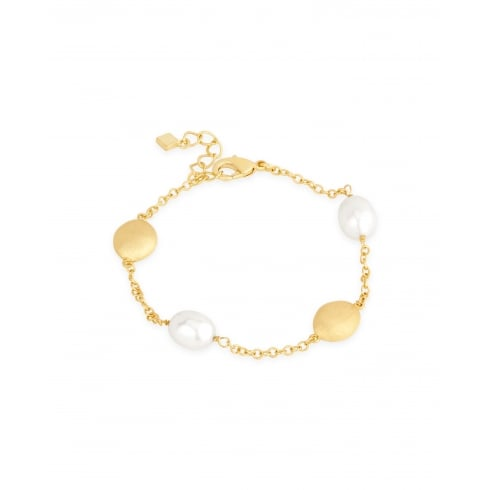 Classic 8-8.5mm Rice Pearl Bracelet with Brass Matt Finished Beads Spaced along the Chain.