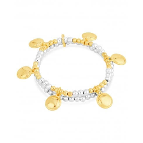 **Double Layered Elasticated Bracelet, Mixed Colour Gold and Silver Plated, Gold Plated Charms.