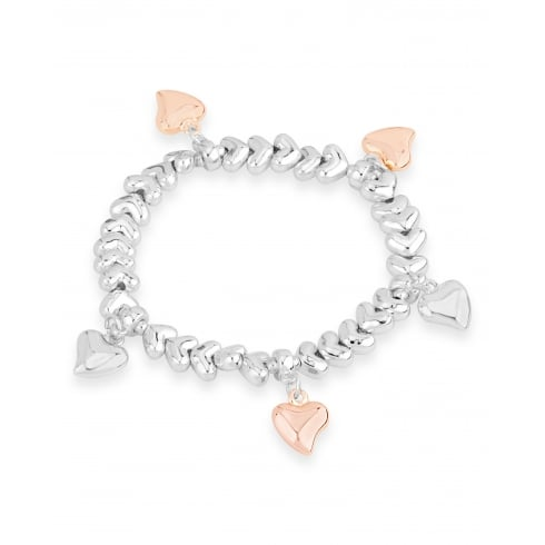 **Elasticated Silver Plated Bracelet with Heart charms in Silver and Rose Gold Plating.