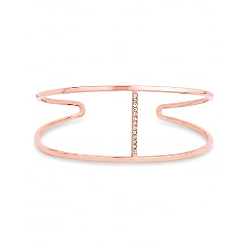 Rose Gold Plated Fixed Open Bangle with Channel Of Cubic Zirconia Stones Bracelet.
