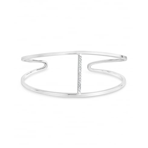 Stylish Silver Plated Fixed Open Bangle with Channel of Crystal Stones.