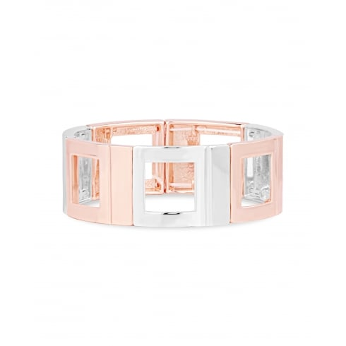 Fashion Square Shaped Alternate 2 Tone Rose Gold & Silver Plated Alloy Elasticated Bangle.