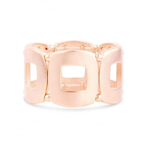 Elasticated Matt Rose Gold Open Square Fashion Bracelet.
