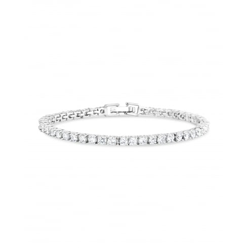 7'' Classic Rhodium Plated Tennis Bracelet set with Brilliant shaped Cubic Zirconia.