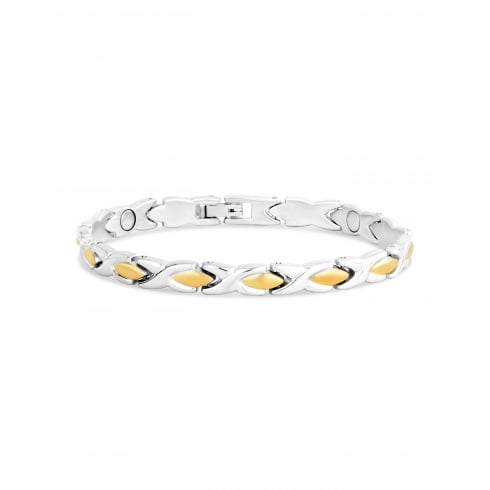 Rhodium and Gold Plated Kiss. Magnetic Alloy Bracelet.