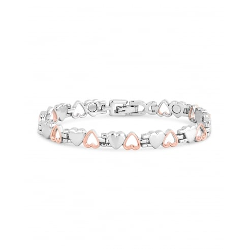 Silver and Rose Gold Magnetic Alloy Double Heart Bracelet.