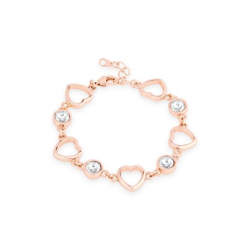 Magnetic Rose Gold Heart Link Bracelet with Crystals