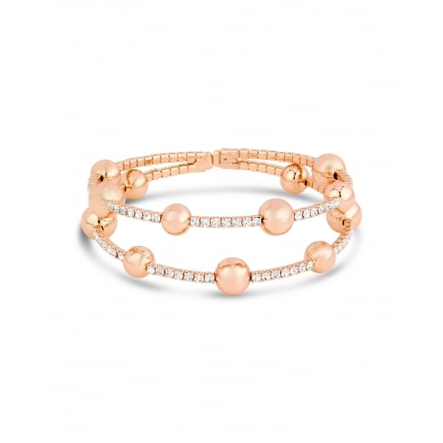 Rose Gold Plated Bobble Bracelet with Crystal Stones Claw Set Opening at the Back.