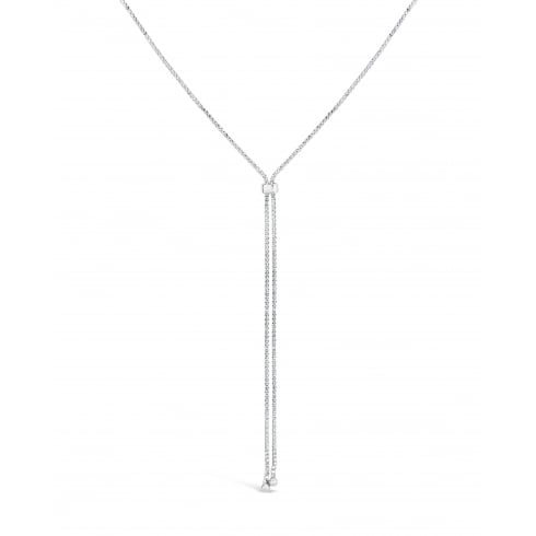 "*48"" Long Chain Rhodium Plated Lariat Slide Chain Necklace Set with Crystals."