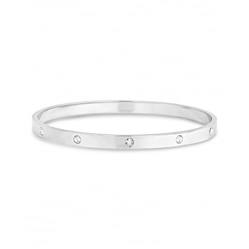 Round Solid Silver Plated Bangle, With 5 Bezel Set Cubic Zirconias.