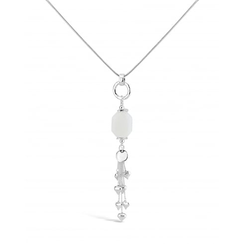 "32"" Long Necklace Silver Plated with White Pendant Stone and love heart tassle detail. Pouch"