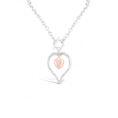 "24"" Chain Matt Rhodium Plated Love Heart Necklace. Double Heart Feature. Pouch."