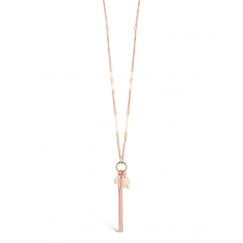 **32'' Long Necklace Featuring Some Semi-Precious Stones, Rose Gold Plated. Pouch