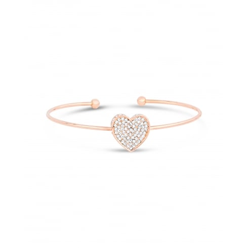 Sweet Single Heart, Cubic Zirconia Pave setting, Bracelet Finished in Warm Rose Gold Plated.