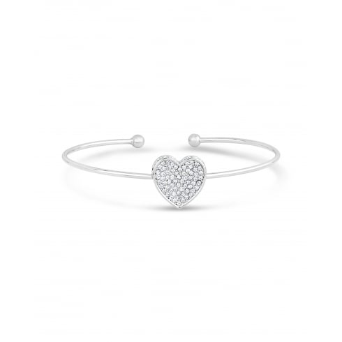 **Sweet Single Heart Pave setting Bracelet Finished in Rhodium Plating.