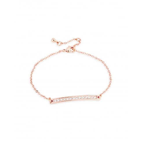 Classic Rose Gold Plated Channel Set Crystal Bar on Delicate Link Chain Bracelet. Bracelet