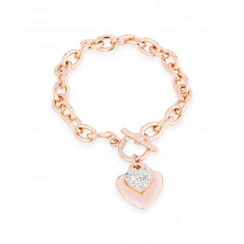 *On Trend Double Heart, Crystal, Rose Gold Link Bracelet.
