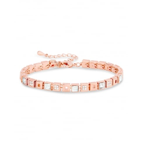 Rose Gold Plated Tennis Style, Square Crystal Bracelets.
