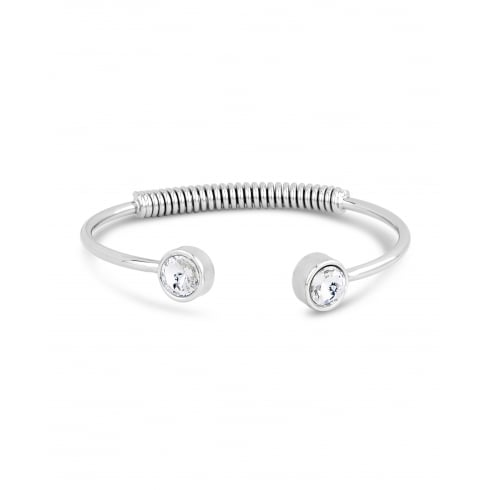 Trendy Silver Rhodium Plated Cuff Spring Back Bracelet with Crystal Rub Over Set Stone.