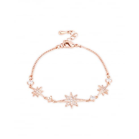 **Delicate Crystal Set Star Bracelet, Rose Gold Plated, Snake Chain