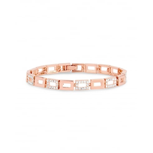 **Rose Gold Plated Square Link Bracelet Featuring Square Crystal Clusters