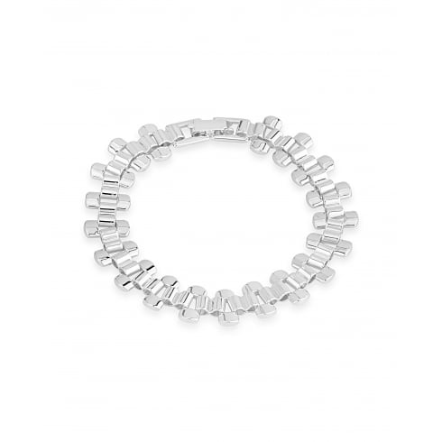 Trendy Silver Plated Continuous Link Style Bracelet.