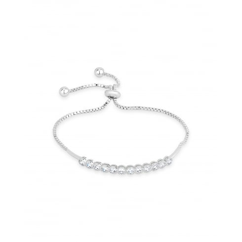 *Beautiful Rhodium Plated Cubic Zirconia Fixed Bar Lariat Style Box Chain Bracelet.
