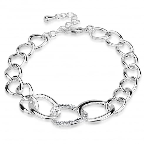**Silver Plated Link Bracelet With Crystal Cluster Link.