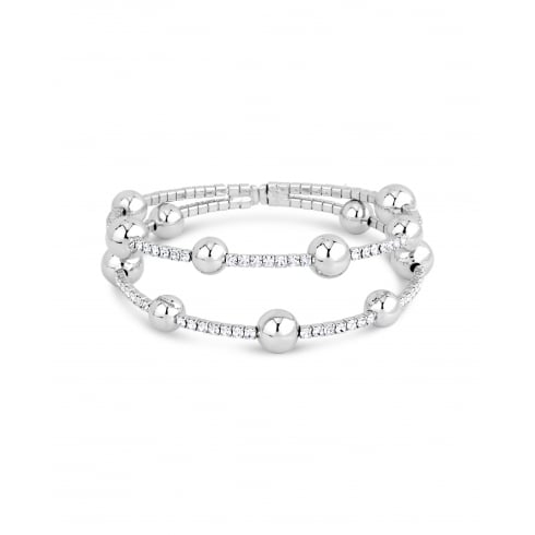 Rhodium Plated Bobble Bracelet with Crystal Stones Claw Set Opening at the Back.