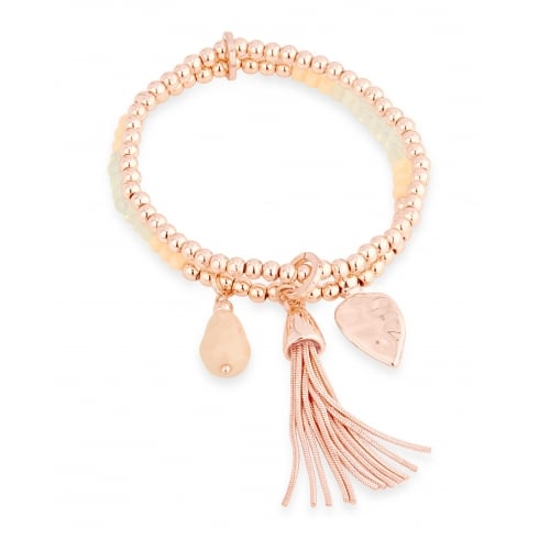 **Double Layered Rose Gold Plated Bead Bracelet with Tassle.