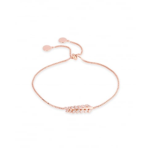 *Delicate Rose Gold Plated Cubic Zirconia Crystal Leaf Bracelet.