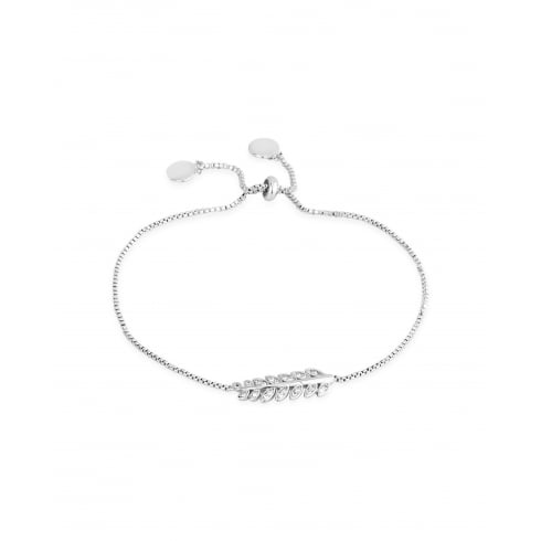 Delicate Rhodium Plated, Crystal Leaf Bracelet.