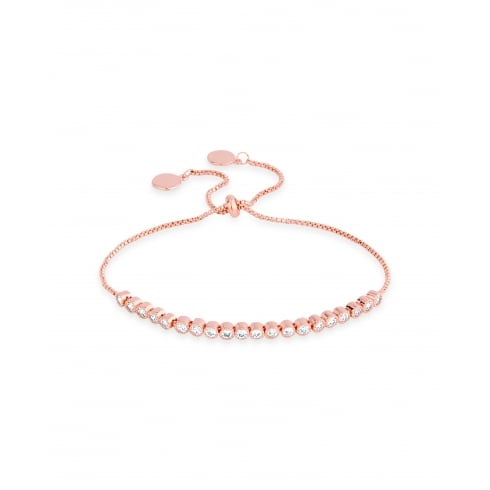 Rose Gold Plated Cubic Zirconia Friendship Style Bracelet.