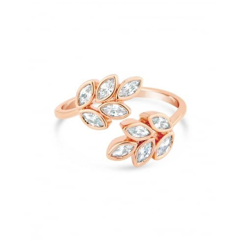 Rose Gold Plated Leaf Adjustable Ring Set With Cubic Zirconia and Crystal stones.