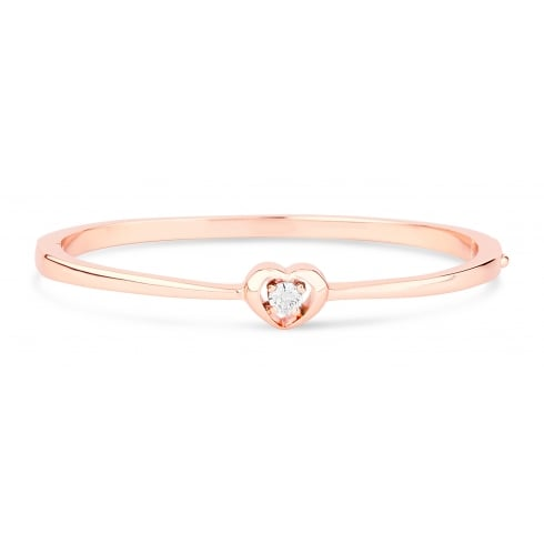 Warm Rose Gold Plated Dainty Heart Bracelet with Round Clear Cubic Zirconia.