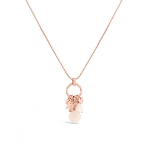***30'' Chain Long Rose Gold Necklace with Semi-Precious Stones and Charm Pendant. Pouch.