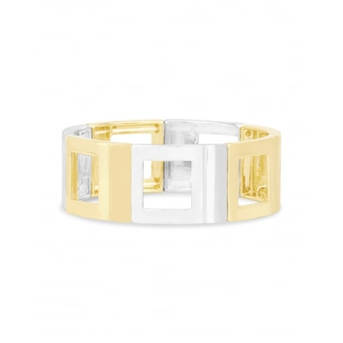 Fashion Square Shaped Alternate 2 Tone Gold & Silver Plated Alloy Elasticated Bangle.