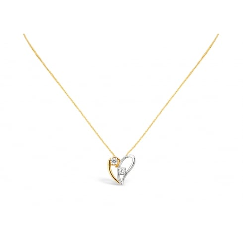Elegant Double Heart Delicate Necklace with Silver & Rose Gold Plating. Split Heart Detailing with Crystal Stone.