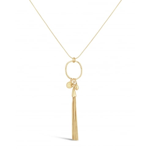"32"" Long Necklace. Matt Gold Plated with Circular Pendant and Love Heart Detailing. Pouch"