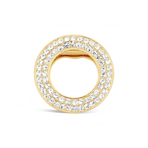 Lovely Gold Plated Circular Crystal Brooch