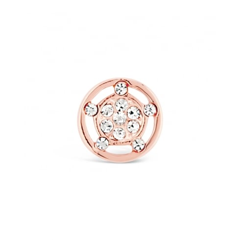 Circular Rose Gold Plated Crystal Cluster Earring.