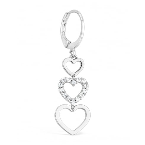 Triple Heart Drop Earring Rhodium Plated Center Heart Claw Set with Crystals