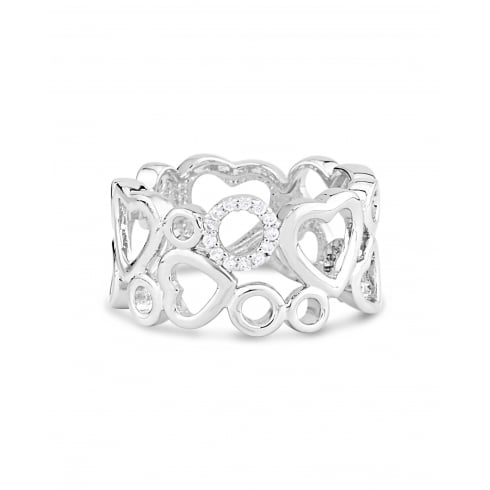 Rhodium Plated Heart Ring with Crystal stones.