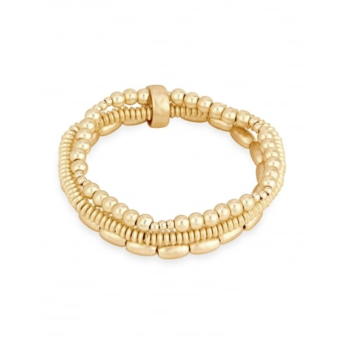 SALE! Matt Gold Plated Three Strand Beaded Elasticated Bracelet.UNBOXED