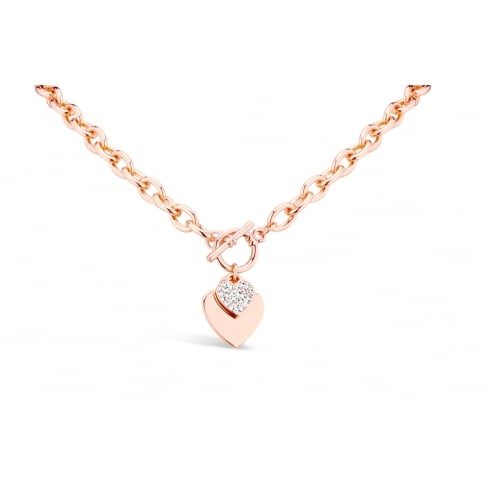 *Elegant Rose Gold Plated, T-Bar Double Heart Necklace. 20mm Drop.