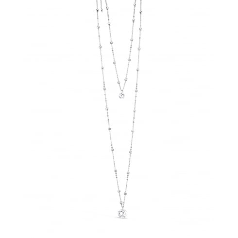 34'' Double Layered Rhodium Plated Necklace with Clear Cubic Zirconia Stone. Pouch